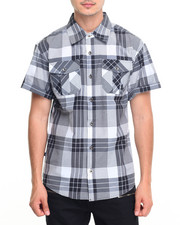 Miskeen - Windowpane Plaid S/S Button Down Shirt