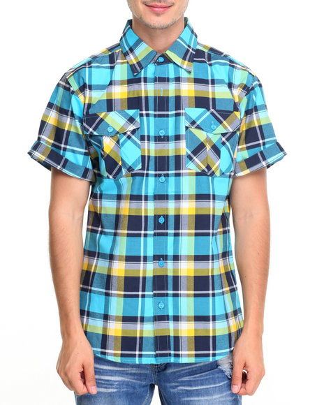 Buy double pocket plaid s s button down shirt men 39 s shirts for Where to buy button down shirts