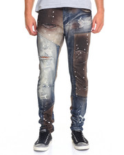 Men - Contrast Panel Moto Jean