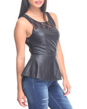Fashion Tops - Lace Yoke Vegan Leather Peplum Top