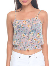 Fashion Tops - Floral Print Tie Front Top