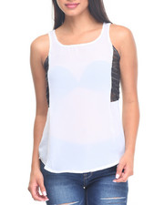 Fashion Tops - Cage Illusion Zip Back Top