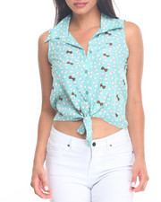 Tops - Bow Tie Print Sleeveless Top