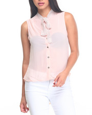 Women - Bling Trim Neckline Sleeveless Top