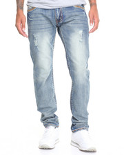 Men - Fleur De Lis Flap - Pocket Slim - Straight Denim Jeans