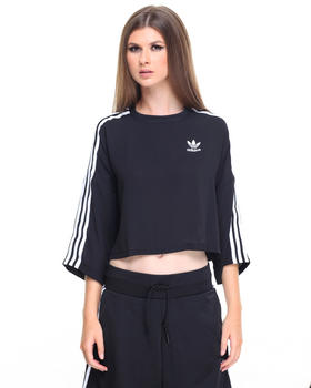 Cropped - Boxy 3-Stripes Chiffon Tee