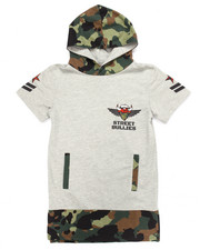 Arcade Styles - STREET BULLIES CAMO FRENCH TERRY HOODED TEE (8-20)