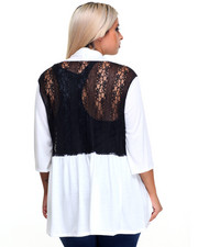Fashion Tops - Lace Back Cardigan (plus)