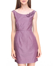 Fashion Lab - Sunday FunDay Sheath Dress w/ Floral Embellishment