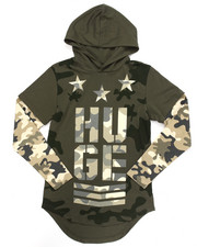 Arcade Styles - L/S ELONGATED MODERN CAMO HOODED TEE (8-20)