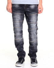 Jeans - Distressed Racing Jean w Ankle Zipper