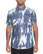 Men - Acid Wash S/S Button Down W/Front Pockets