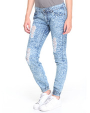 Bottoms - Crackle Print Destructed Skinny Jean
