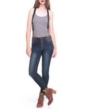 Women - Destructed Stretch Denim Skinny Overall
