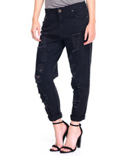 Women - Rips & Tears Boyfriend Roll-cuff Twill Jean