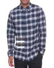 Men - BLEACH DRIP FLANNEL L/S BUTTON - DOWN