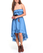 Dresses - Ruffled Tube Belted Hi-Low Denim Dress