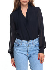 Tops - Cold Shoulder Surplice Bodysuit