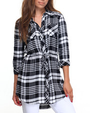 Cotton Express - Yarn Dye Plaid Shirt Dress