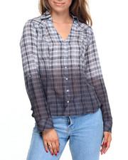 Tops - Dip Dye Lurex Stripe Roll-Cuff Shirt