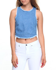 Fashion Tops - Raw Edge Denim Zip Back Cropped Top