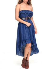 Cotton Express - Ruffled Tube Belted Hi-Low Denim Dress