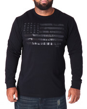 T-Shirts - Stars Crackled Flag L/S T-Shirt (B&T)