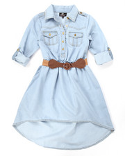 Sizes 7-16 - Big Kids - BELTED HI-LO CHAMBRAY DRESS (7-16)