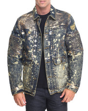 Outerwear - Gold Flash Foil - Trim Moto Denim Jacket