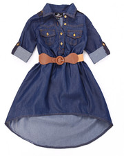 Sizes 4-6x - Kids - BELTED HI-LO CHAMBRAY DRESS (4-6X)