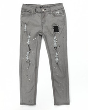 Jeans - DISTRESSED SKINNY JEANS W/ PAIN SPLATTER (7-16)