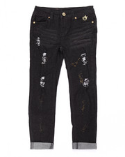 Sizes 7-16 - Big Kids - DISTRESSED GOLD GLITTER SKINNY JEANS (7-16)