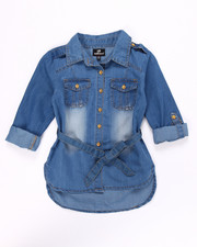 Sizes 7-16 - Big Kids - CHAMBRAY SHIRT W/ SELF BELT (7-16)