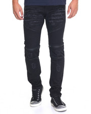 Pants - Moto - Style Zipper - Trim Twill Pants