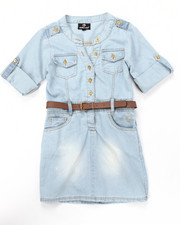 Sizes 7-16 - Big Kids - BELTED CHAMBRAY DRESS (7-16)