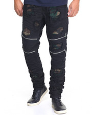 Jeans & Pants - Splinter Cell Camo - Lined Zip - Moto Denim Jeans