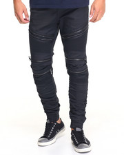 Pants - Shirring - Leg Biker Twill Pants