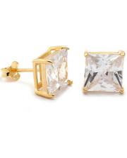 Accessories - 925 Sterling Silver Gold Clear Princess Stud earing (6mm)