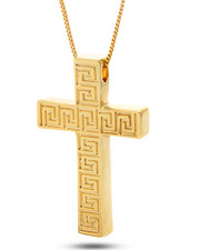 Men - 14K Greek Key Cross Necklace