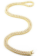 Men - 5mm 14K Gold Plated One Row Iced Out Diamond CZ Chain