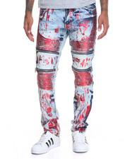 Jeans & Pants - Red Flash Foil - Trim Moto Denim Jeans