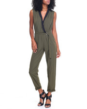 Fashion Lab - Tuxedo Neckline Self Belt Jumpsuit