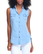 Fashion Lab - Hi/Low Hem Button Down Denim Shirt