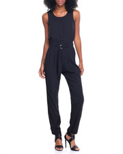 Women - Cut Out Back Adjustable Waist Jumpsuit