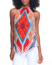 Fashion Lab - Medallion Placement Print Trapeze Top
