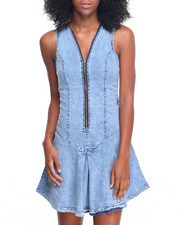 Women - Zip Neckline Back Cut-out Stretch Denim Dress