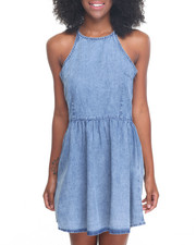 Women - Halter Denim Skater Dress