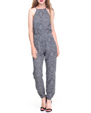 Women - Abstract Print Pocketed Jumpsuit