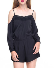 Women - Cold Shoulder Crochet Front Crepe Romper