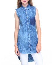 Fashion Lab - Raw Edges Hi-Low Hem Tunic Denim Shirt